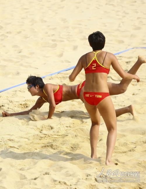亚运女子沙滩排球b组 中国组合黄影 岳园胜出